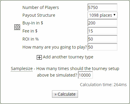 Poker Tournament Variance Calculator Settings